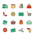 set shopping and sale line icons flat style vector image vector image