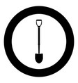 shovel icon black color in circle vector image