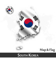 south korea map and flag waving textile design vector image
