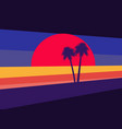 sunset with palm trees on the background style vector image vector image