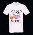 t-shirt with a cow on it art vector image vector image