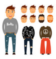 teenager character creation set young man vector image
