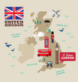 united kingdom national symbols with map vector image