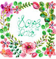 watercolor floral frame for wedding invitation vector image vector image