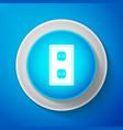 white electrical outlet icon on blue background vector image vector image