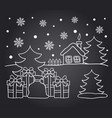 chalkboard drawing card of winter house vector image