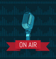 microphone with ribbon on with vector image
