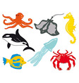 Sea Life with Fish vector image