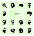 14 brain icons vector image vector image