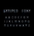 3d striped font on black background vector image