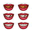 a collection of pop art icons of red female lips - vector image vector image