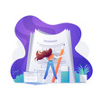 a self confident woman standing on big papers vector image vector image