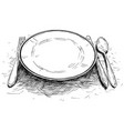 artistic or drawing of empty plate knife and fork vector image vector image