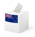 Ballot box with voting paper New Zealand vector image vector image