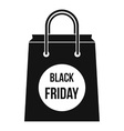 Black Friday shopping bag icon simple style vector image vector image