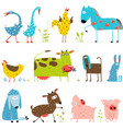 Brightly Colored Fun Cartoon Farm Domestic Animals vector image