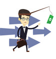 business man trying to catch money on fishing rod vector image vector image