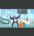 businessman late on airplane cartoon vector image