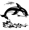 cartoon dolphin black white vector image vector image