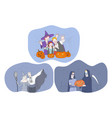 celebrating halloween holiday in spooky costumes vector image vector image