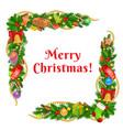 christmas tree xmas gifts bells garland corners vector image vector image