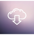 Cloud with arrow down thin line icon vector image vector image