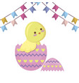 cute chicken of easter in egg with garlands vector image vector image