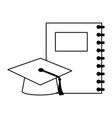 education school notebook and gradution hat vector image