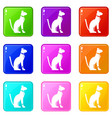 egyptian cat icons 9 set vector image vector image
