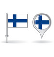 Finnish pin icon and map pointer flag vector image vector image