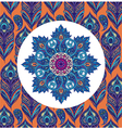 Floral eastern round pattern with peacock feathers vector image