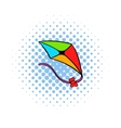 Flying kite icon comics style vector image vector image
