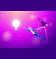 flying lightbulb and rocket with businessman try vector image vector image