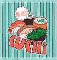 food poster with sushi vector image vector image