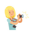girl taking pictures young professional vector image
