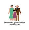 grandmother grandfather and granddaughter icon vector image vector image