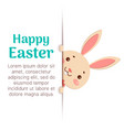 happy easter easter cartoon bunny is looking out vector image vector image
