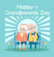 happy grandparents day with old people sit outdoor vector image vector image