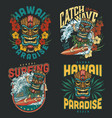 hawaii surfing vintage colorful labels vector image vector image