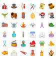 horned helmet icons set cartoon style vector image vector image