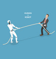 human vs robot flat isometric concept vector image vector image