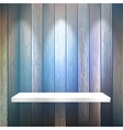 Isolated Empty shelf for exhibit on wood EPS10 vector image