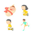 kids icon set cartoon style vector image