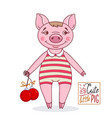 little cute pig in cartoon style in a striped bath vector image vector image