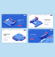 marine shipments landing page layouts set vector image