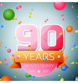 Ninety years anniversary celebration background vector image