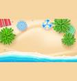 palm trees beach mat sun umbrellas on seashore vector image