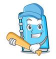 playing baseball education character cartoon style vector image vector image