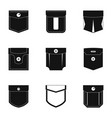 pocket icon set simple style vector image