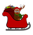 reindeer on a christmas sledge vector image vector image